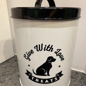 Dog give treats with love canister